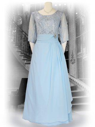 【2L】フラワーレースドレス ピンク・ライトブルー袖付きロングドレス 2709演奏会
