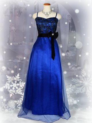 【M/L】アラベスク刺繍・ブルー*ロングドレス/ 演奏会 ラミューズドレス通販