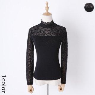 【L】フラワーチュール切り替えデザイン*ブラウス 黒*演奏会衣装