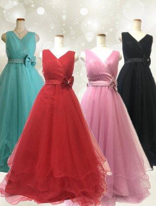 4色‼ゆったりサイズ*BIGリボン*プリンセスボリュームドレスロングドレス*3000 演奏会ステージドレス