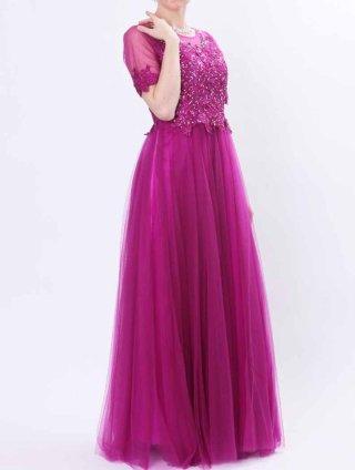 バイオレットパープルロングドレス*リサイタル3359*オペラ*声楽