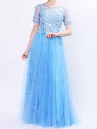 シンデレラブルーロングドレス*リサイタル3359*オペラ*声楽