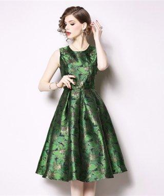 【M/XXL】グリーン&レッド 高品質ラメ織ワンピースドレス Aラインスカート/ 演奏会 ラミューズドレス通販