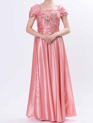 リーフ刺繍ピンク*2515ロングドレス*演奏会
