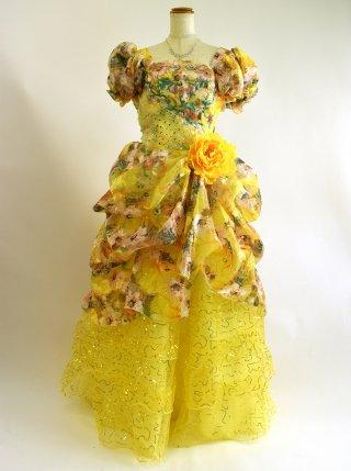 ひまわりイエロー★お袖付きステージドレス4112 ラミューズドレス演奏会