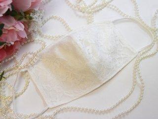 【M.L】夏用コットン100%*レースホワイト*マスク☆コロナ対策・風邪・花粉対策・喉のケアに☆マスク