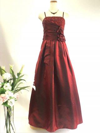コードレースのロングドレス*ワインレッド/ 演奏会 ラミューズドレス通販