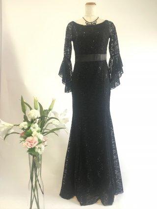 【M/L】長袖ブラックドレス*総レーススパンコール刺繍4018*演奏会ロングドレス