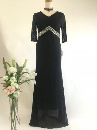 ゆったり 楽ちんドレス お袖付き ブラック4057*演奏会ロングドレス