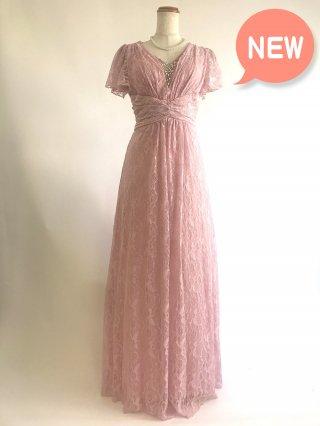 【M.L】総レース女神ラインロングドレス お袖付き ピンク4005*演奏会