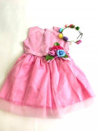【120cm】キッズドレス*花びらピンク*カチューシャ付き*0732演奏会・発表会