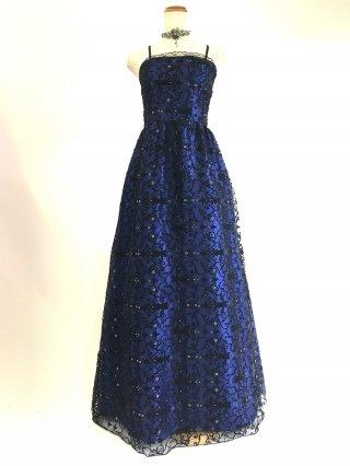 ロマネスク柄のロングドレス*ブルー 8736/ 演奏会 ラミューズドレス通販