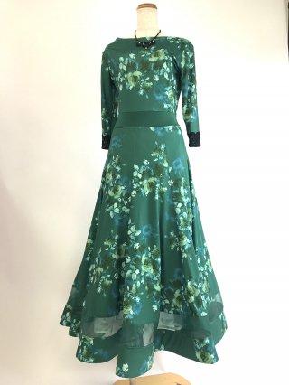 フラワープリントグリーン*7分袖ロングドレス 袖付きドレス 1828 演奏会ステージドレス 社交ダンス