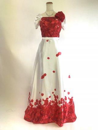 【L】フラワープリントロングドレス*レッド×ホワイト お袖付き2382/演奏会 ラミューズドレス通販