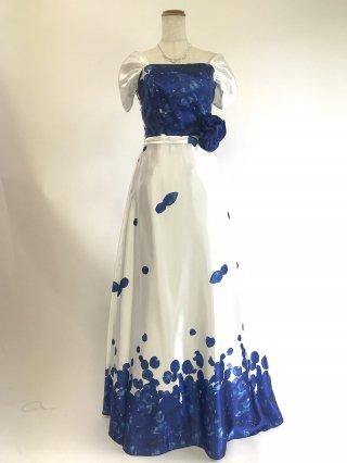 【M・L】フラワープリントロングドレス*ブルー×ホワイト お袖付き2382/演奏会 ラミューズドレス通販