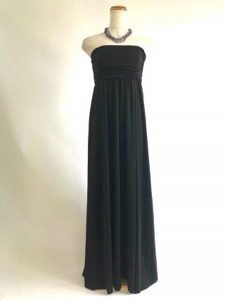 シンプルブラックのベアトップロングドレス 0007/ 演奏会 ラミューズドレス通販