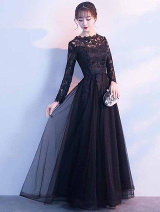 【高品質】長袖ロングドレス*ブラックレース / 演奏会 ラミューズドレス通販