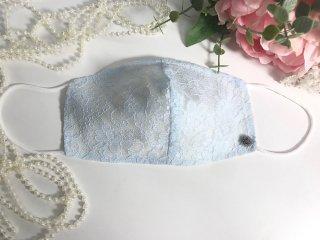薄型ライトブルー*シルクレースマスクモチーフ付*洗える!シルクコットン50%マスク☆コロナ対策・風邪・花粉対策・喉のケアに☆マスク