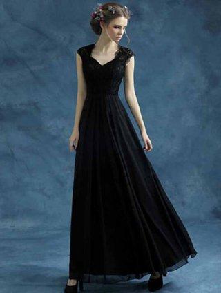 フレンチスリーブロングドレス*シンプルドレス*ブラック*お袖付き/オーケストラ