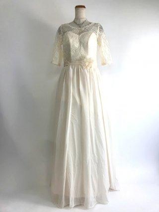 オフホワイトレースドレス編み上げ*5分袖*演奏会ロングドレス