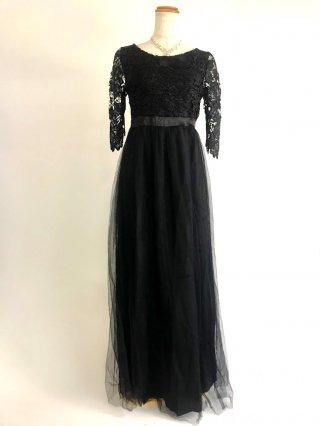 背の低い方に☆レースロングドレス*シンプルドレス*ブラック*お袖付き女神ラインロングドレス/オーケストラ