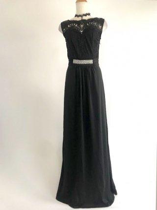 ノースリーブ*ウエストビジュー女神ラインロングドレス*ブラック/ 演奏会 ラミューズドレス通販