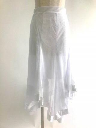 アシンメトリーロングスカート♪ホワイト*ラミューズドレス3858