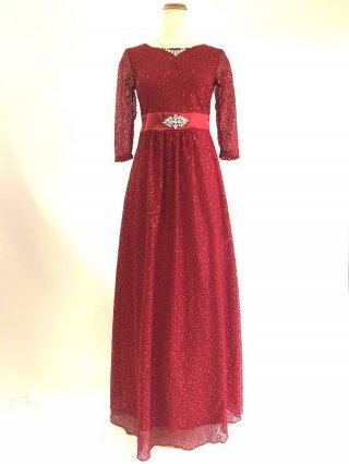 【M/L】ガーネットレッドの総レース袖付きロングドレス*4013ラミューズドレス演奏会