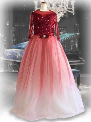 レッドダイヤモンド*グラデーションロングドレス 袖付き 7961ラミューズドレス演奏会