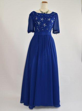 ブルーサファイア半袖ロングドレス*ロイヤルブルー2878 / 演奏会 ラミューズドレス通販