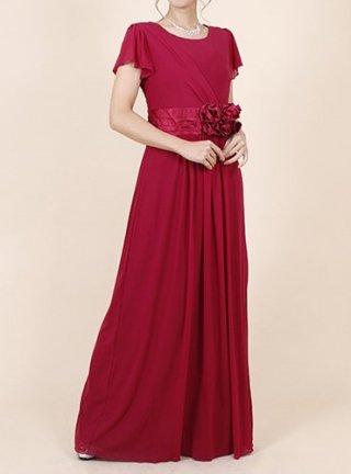 【レッド・ネイビー・グリーン】【M/L】ウエストサテンフラワーロングドレス☆1594☆演奏会ステージドレス