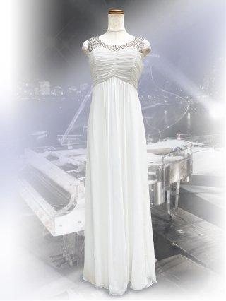 【L】美シルエット ホワイトのビジューロングドレス8947 / 演奏会 ステージ衣装 発表会