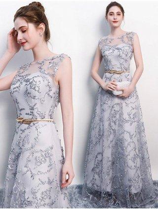 【XS-3XL】グレーのコードレースドレス♪ノースリーブ♪ベルト付き/演奏会ステージ衣装(Sサイズ)