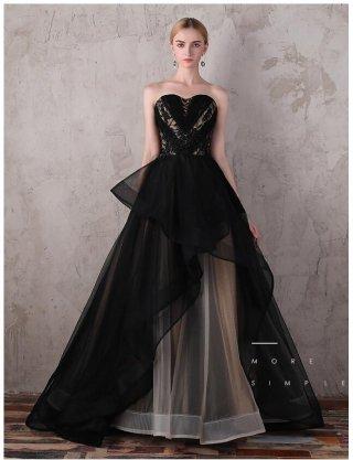 お取り寄せ【XS-3XL】ブラック×ブラウン vagueロングドレス/演奏会ステージ衣装