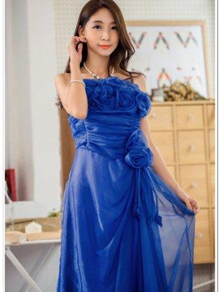 【S-4L】お取り寄せ*青い薔薇のブーケロングドレス*ロイヤルブルー 9750/演奏会 ラミューズドレス通販