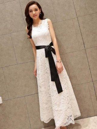 【S-2XL】レースフレアーロングドレス*ブラック*ホワイト ノースリーブ*演奏会衣装