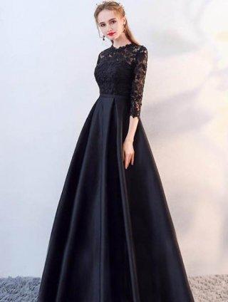 【XS~2XL・7分袖】ブラックロングドレス*オーケストラ 伴奏/演奏会衣装