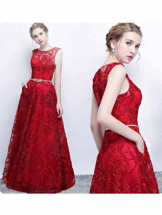 【XS-3XL】レッドのコードレースドレス♪ノースリーブ♪ベルト付き/演奏会ステージ衣装
