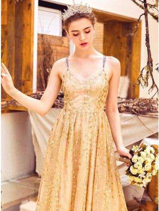 マリーゴールド*スパンコール刺繡ベージュ系ロングドレス/ラミューズドレス通販