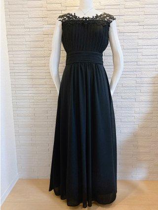 【S-2XL】【ブラック】お袖付きレース☆アラクネロングドレス☆演奏会ステージドレス