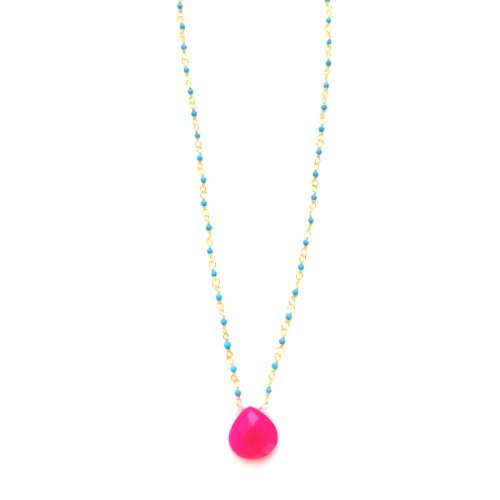 Pink Chalcedony Blue Necklace