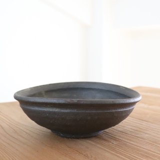 黒釉楕円鉢大/野口淳