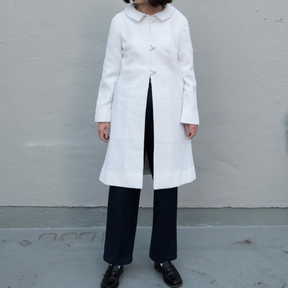 [VINTAGE] Snow white ribbed spring coat
