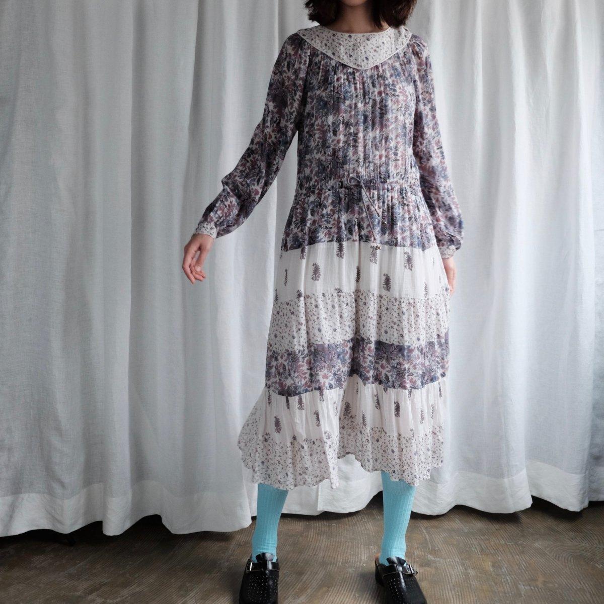 [VINTAGE] Indian rayon botanical dress