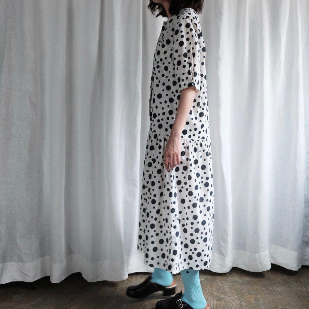 [VINTAGE] Dalmatian dots half sleeve dress