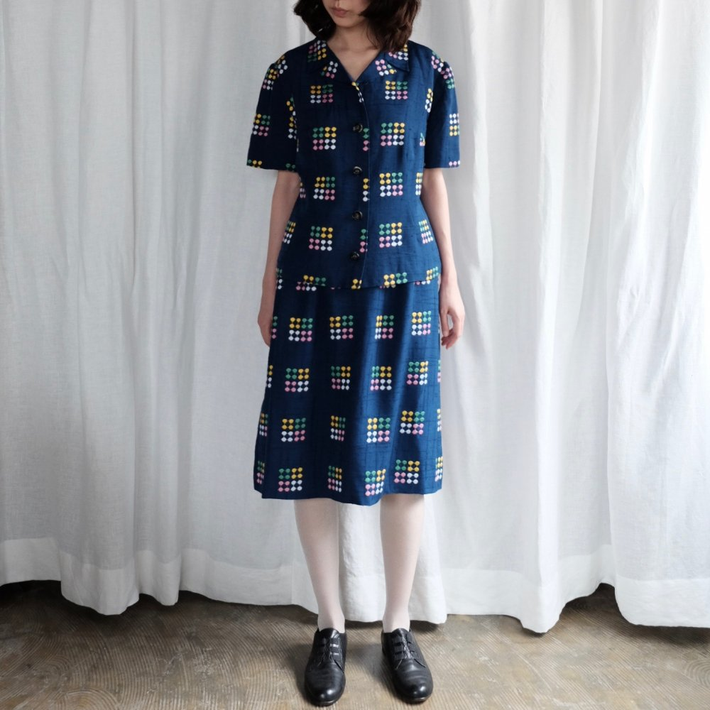 [VINTAGE] Multicoloured Embroidered dots jacket & skirt set
