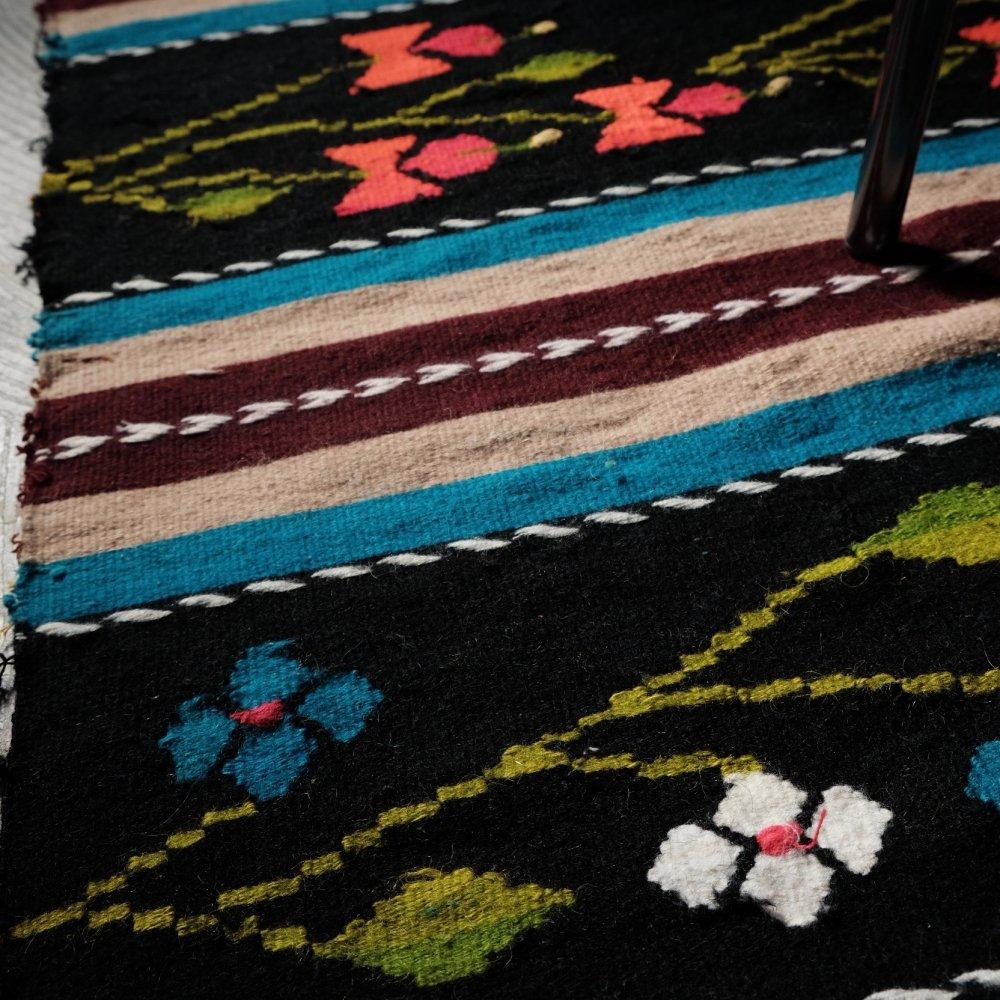 [VINTAGE] Romanian Handwoven Floral Kilim Rug