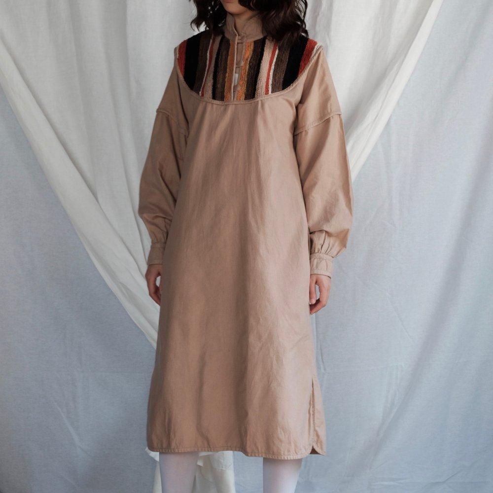[VINTAGE] Safari Chic Dress with Autumn Stripe Detail
