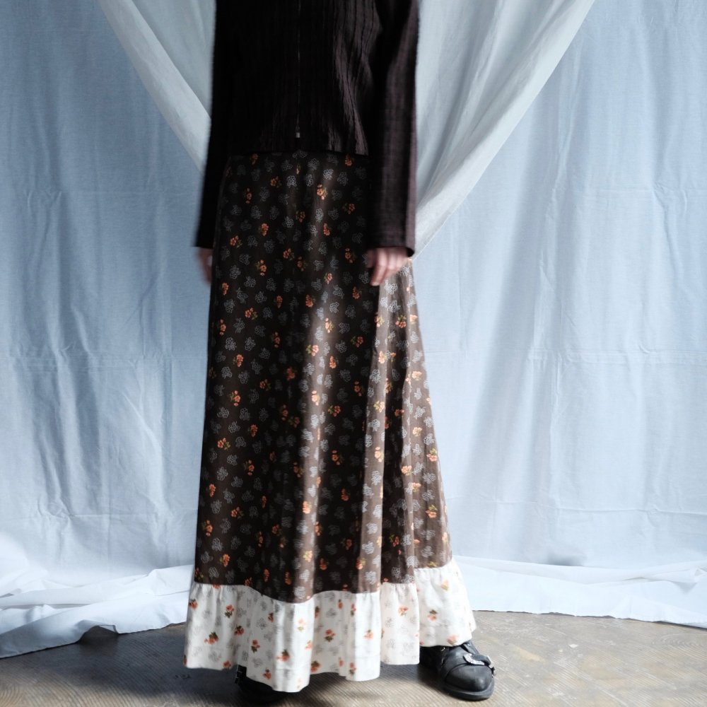 [VINTAGE] Long Ribbon Belt Maxi Skirt