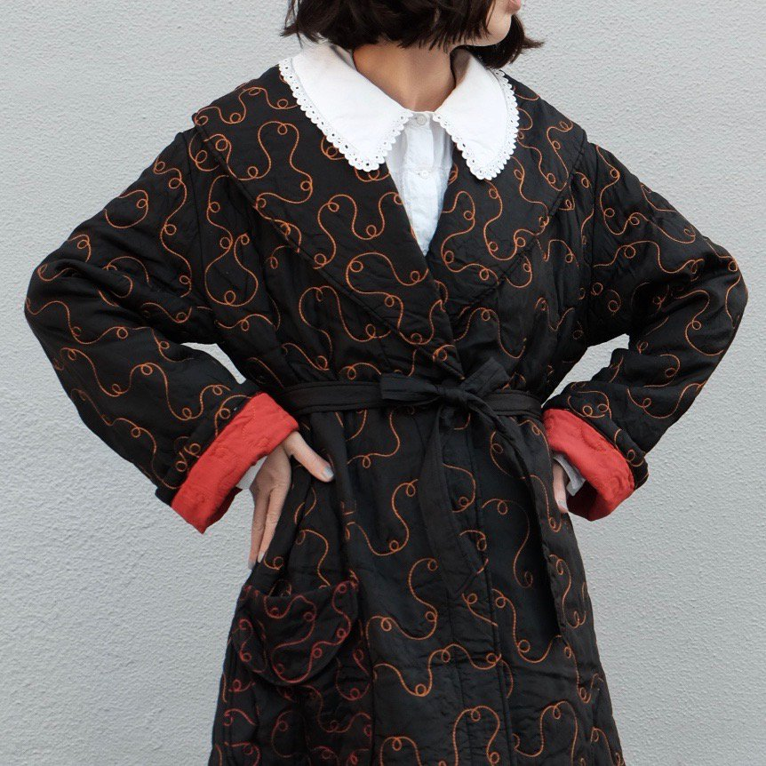 [VINTAGE] Tendril Stitch Belted Robe Coat